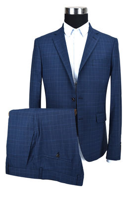 China Dark Blue Mens Custom Tailored Suits Check Anti Wrinkle Business ISO9001 Certification supplier
