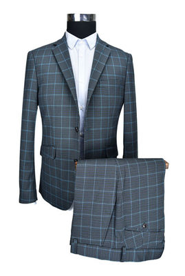 China Custom Size Mens Tailored Fit Suits For Autumn and Winter Navy Check supplier