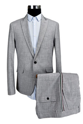 China Strips Slim Fit Tailored Suits  All Season Men'S Light Grey Mel Decorative supplier
