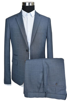 China Spring Slim Fit Tailored Suits Grey Check 42-62 Size Adults Business supplier