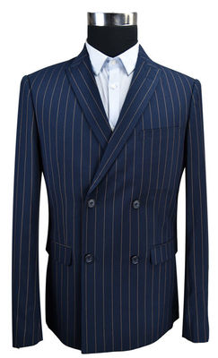 China Blue Stripe Men'S Fashion Blazers Double Breasted Business Adults USA Size supplier