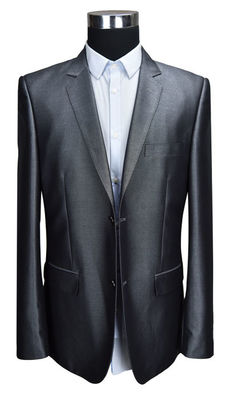 China Mens Slim Fit Grey Blazer , Slim Fit Tailored Suit Blazer Grey Spring Autumn Winter supplier