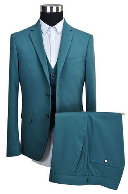 China Deep Green Tailored Mens 3 Pieces Suit Office Business Breathable Anti Wrinkle supplier