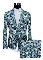 China Blue Floral Printed Suits For Mens Slim Fit Including Jacket Trousers And Shorts supplier