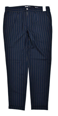 China Slim Fit Custom Tailored Trousers Casual Pants Navy Stripe Breathable Anti Wrinkle supplier