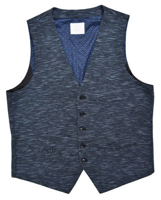China Knit Fabric Mens Tailored Vest All Season Navy Mel Breathable 70% Cotton 30% Polyester supplier