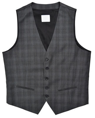 China Business Mens Fashion Vest Office Worker Dark Grey Check Color Customers Option supplier