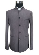 China Dark Grey Mens Casual Blazer Jacket Stand Collar Tunic Suit Viscose Fabric Type supplier