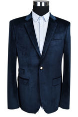 China Velvet Slim Fit Mens Knit Blazer Navy Casual  Business Anti  Wrinkle supplier