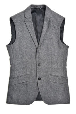 China Woolen Mens Tailored Sleeveless Vest Grey Mix 50% Polyester and 50% Wool supplier