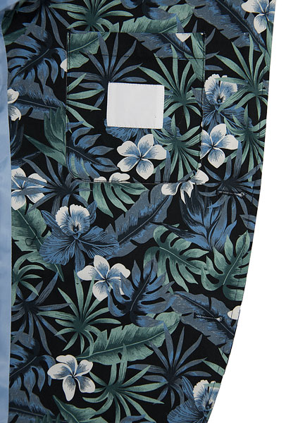 Blue Floral Printed Suits For Mens Slim Fit Including Jacket Trousers And Shorts