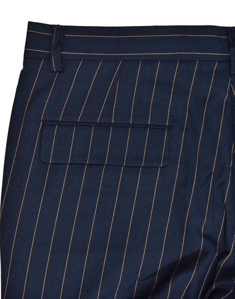 Slim Fit Custom Tailored Trousers Casual Pants Navy Stripe Breathable Anti Wrinkle